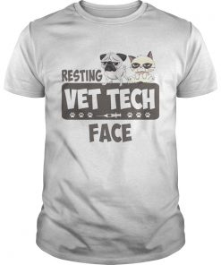 Pug and Grumpy cat resting vet tech face  Unisex