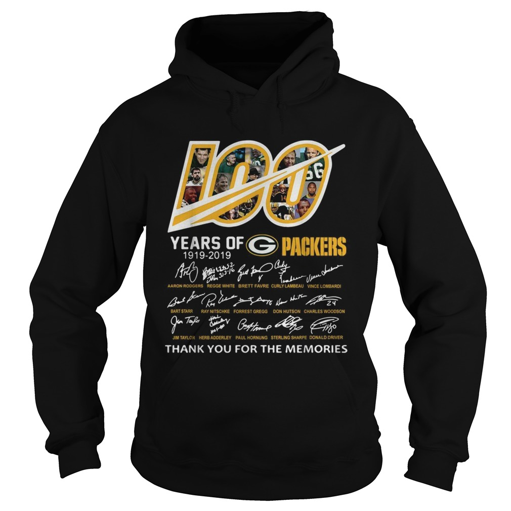 100 Years of Green Bay Packers 19192019 signatures Hoodie