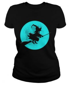 Beautiful Witch On Broom With Full Moon Gift For Halloween Costume  Classic Ladies
