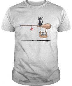 Black cat on broomstick not in service  Unisex
