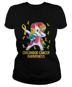 Dabbing Unicorn Childhood Cancer Awareness Warrior Gift TShirt Classic Ladies
