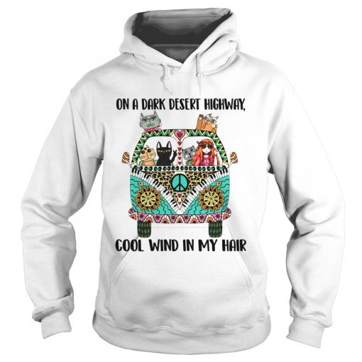Hippie Girl and cat Tattoos On a dark desert highway cool wind in my hair  Hoodie