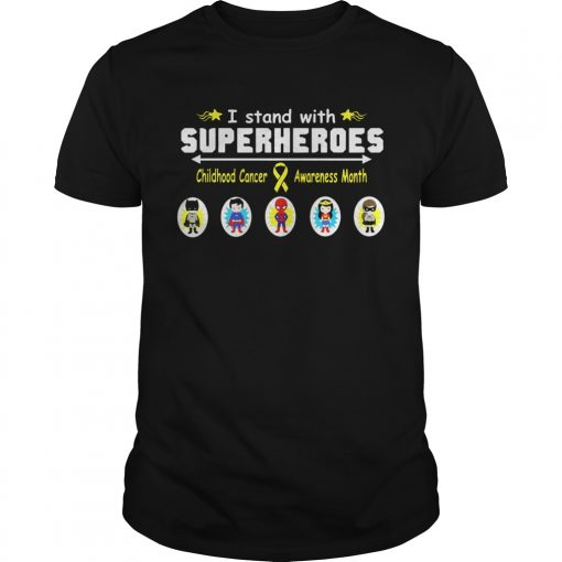 I Stand With Superheroes Childhood Cancer Awareness Month Shirt Unisex