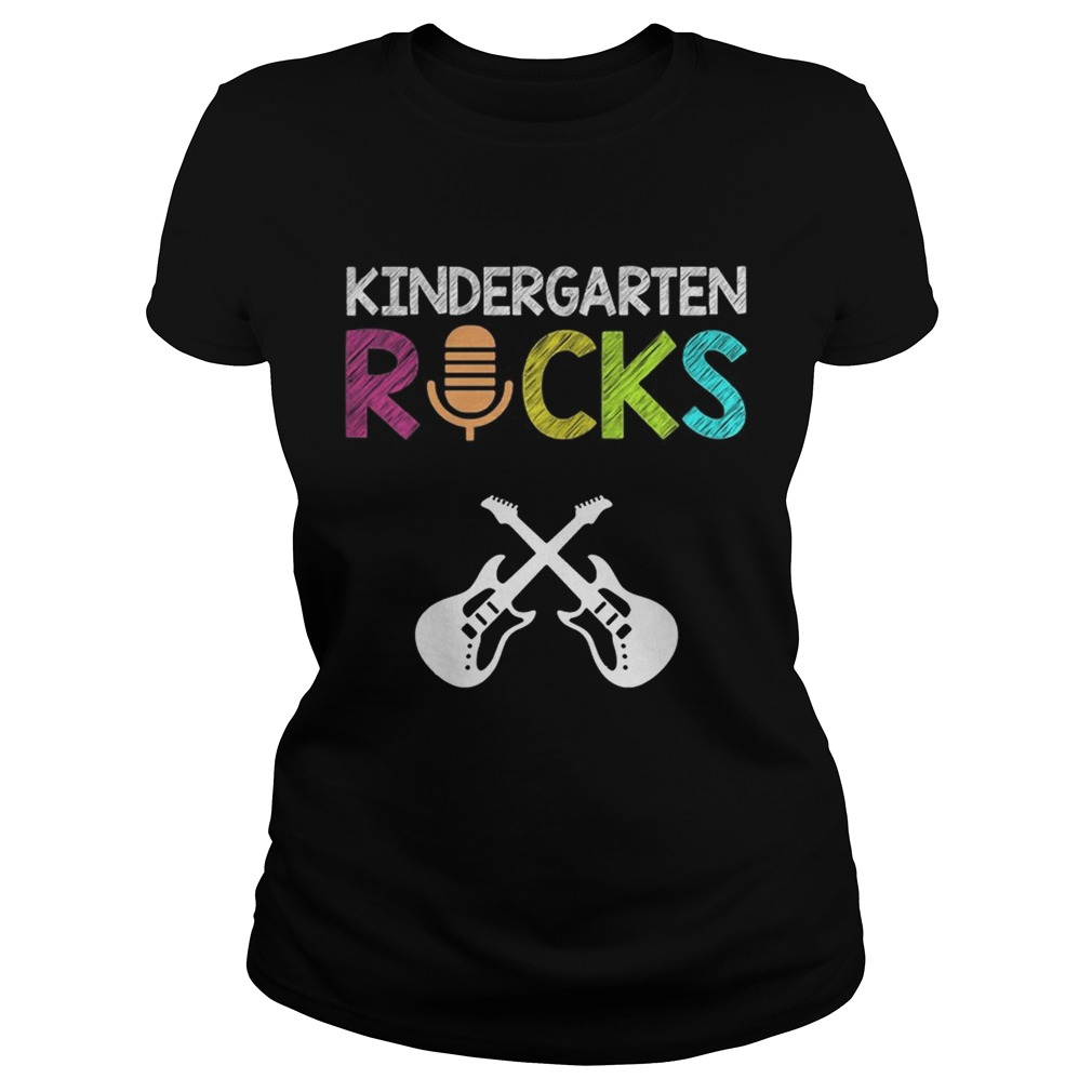 Kindergarten Rocks With Guitar Novelty Gift Kids Music Lover TShirt Classic Ladies