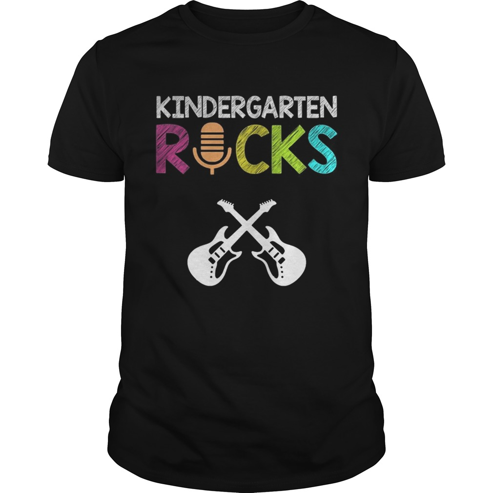 Kindergarten Rocks With Guitar Novelty Gift Kids Music Lover TShirt Unisex