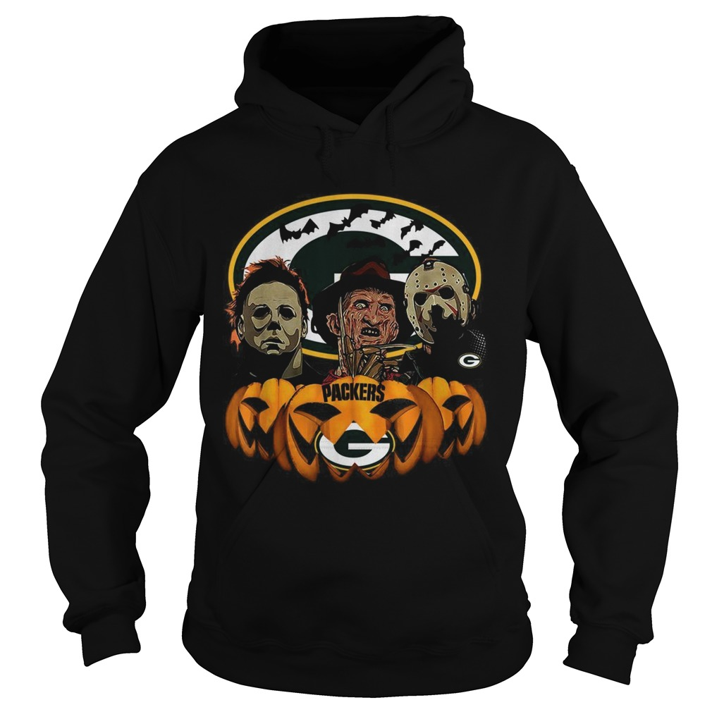Michael Myers Jason Voorhees and Freddy Krueger Green Bay Packers Halloween Hoodie