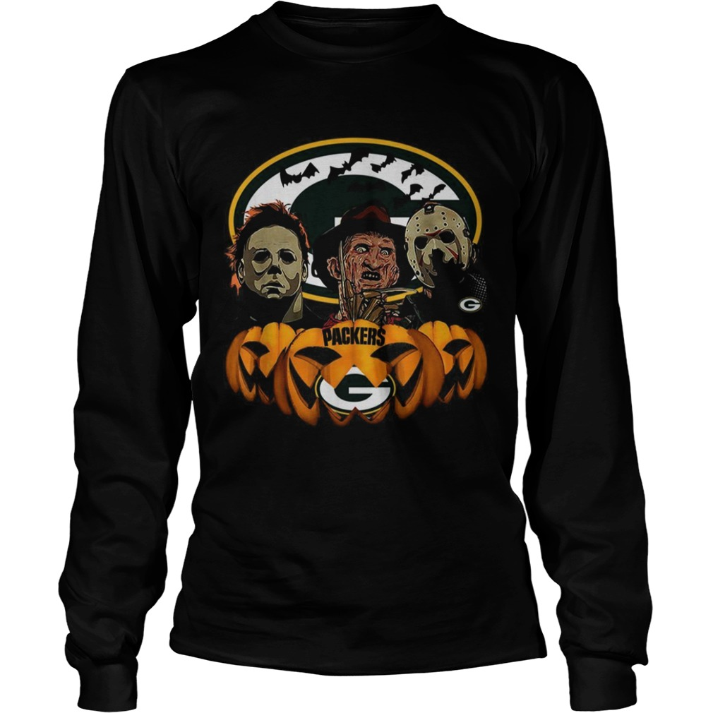Michael Myers Jason Voorhees and Freddy Krueger Green Bay Packers Halloween LongSleeve