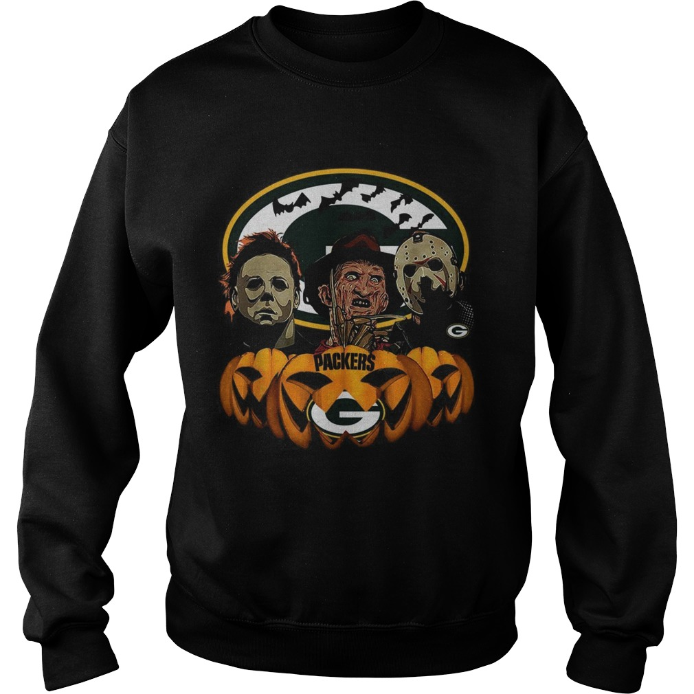 Michael Myers Jason Voorhees and Freddy Krueger Green Bay Packers Halloween Sweatshirt