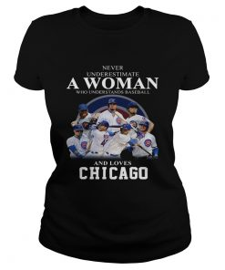 Never underestimate a woman who understands baseball and loves Chicago Cubs Shirt Classic Ladies