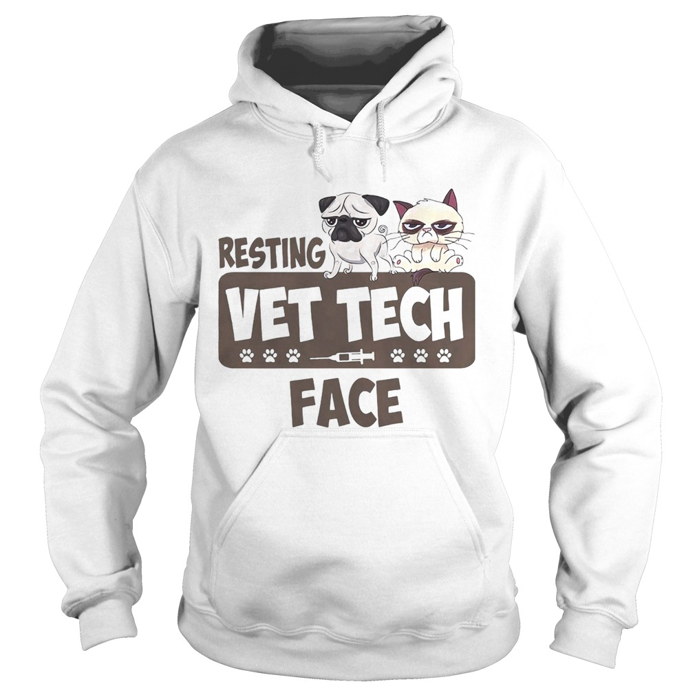 Pug and Grumpy resting vet tech face Hoodie