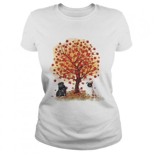 Pugs autumn leaf tree  Classic Ladies