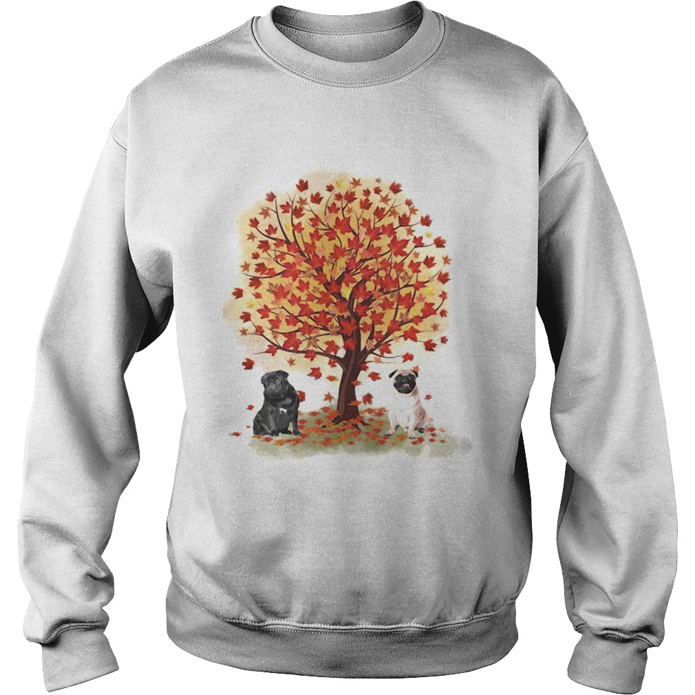 Pugs autumn leaf tree Sweatshirt