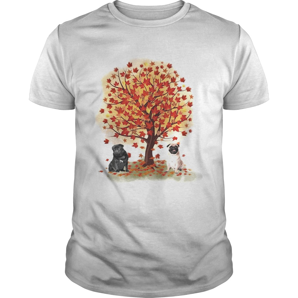 Pugs autumn leaf tree Unisex