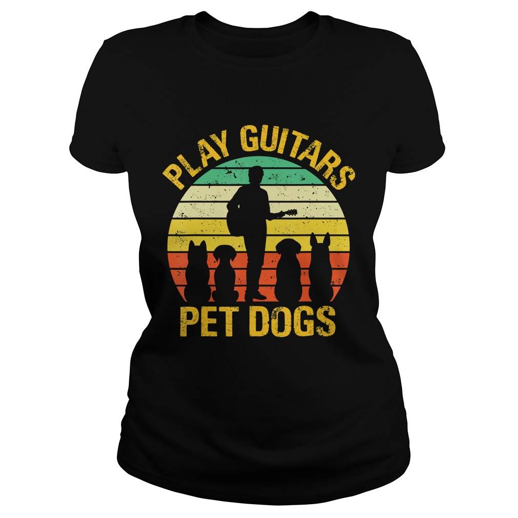 vintage Play guitars pet dogsTShirt Classic Ladies