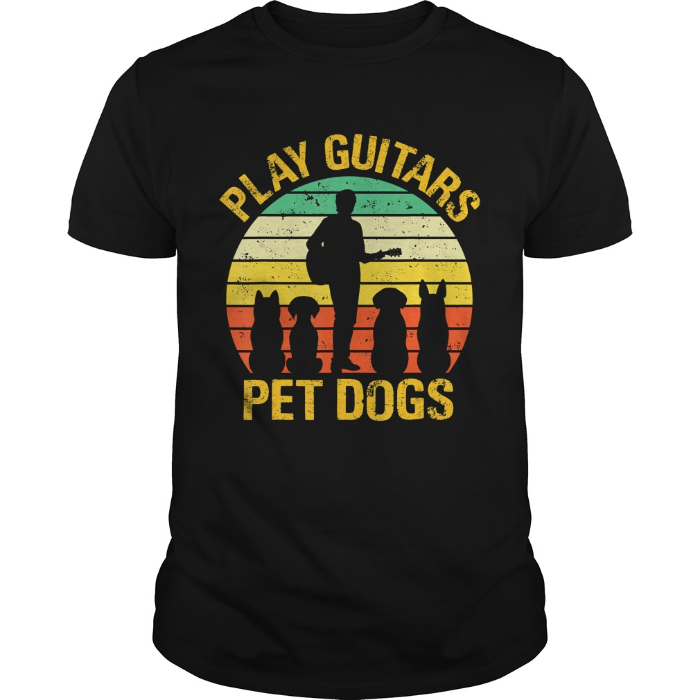 vintage Play guitars pet dogsTShirt Unisex