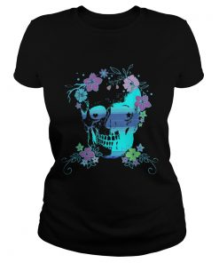 Beautiful Skull and Flowers Halloween Rave Concert  Classic Ladies