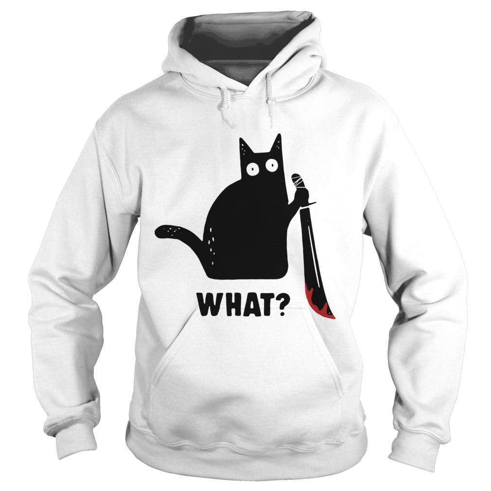 Black cat murderous holding knife Halloween Hoodie