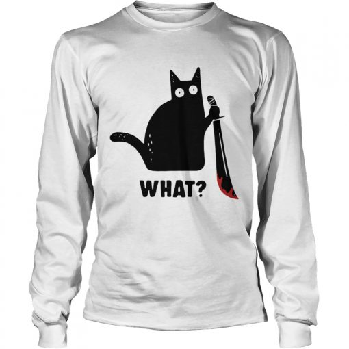 Black cat murderous holding knife Halloween  LongSleeve