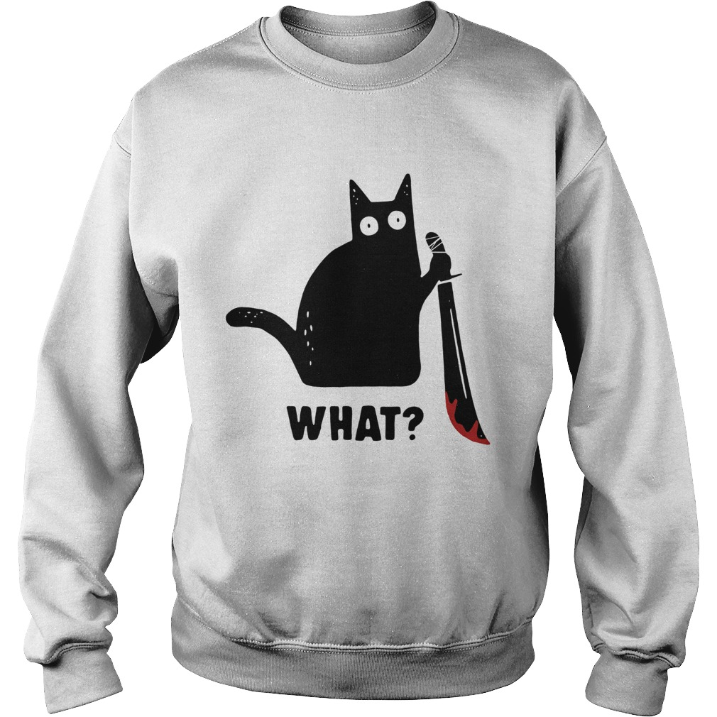 Black cat murderous holding knife Halloween Sweatshirt