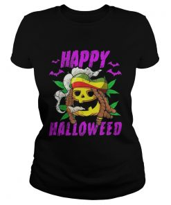 Halloween Happy Halloweed Rasta Pumpkin Marijuana Weed 420  Classic Ladies