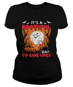Halloween Nurse Its A Bootiful Day To Save Lives TShirt Classic Ladies