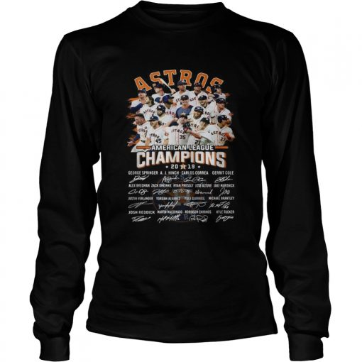 Houston Astros American league Champions 2019 signature  LongSleeve
