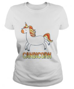 Top Cute Candicorn Halloween Candy Corn Unicorn  Classic Ladies