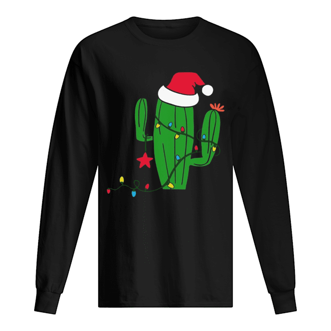 Free Hugs Santa Cactus Christmas Long Sleeved T-shirt