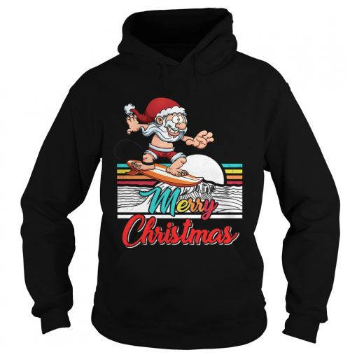 Funny Surfing Santa Claus Hawaiian Christmas Women Men Gift  Hoodie