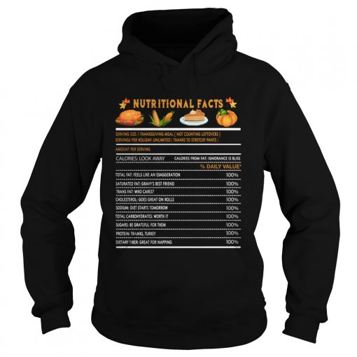 Funny Thanksgiving Nutrition Fast Food Vegetables Meal Gift  Hoodie