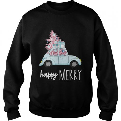 Happy Merry Vintage Car Christmas Holiday Pink Xmas Tree  Sweatshirt