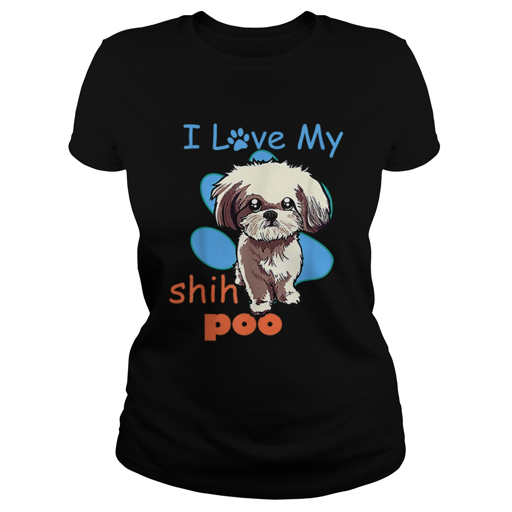 I Love My Shih Poo Best Dog Lover Paw Print Christmas Classic Ladies