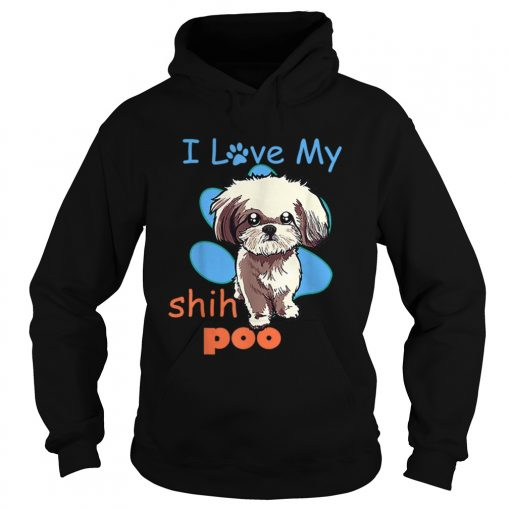 I Love My Shih Poo Best Dog Lover Paw Print Christmas  Hoodie