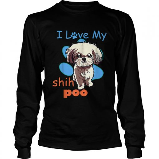 I Love My Shih Poo Best Dog Lover Paw Print Christmas  LongSleeve