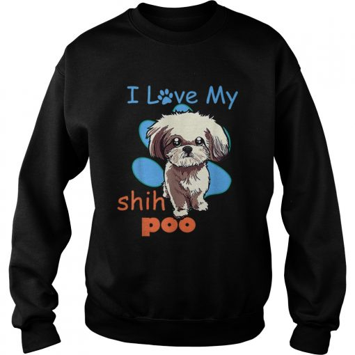 I Love My Shih Poo Best Dog Lover Paw Print Christmas  Sweatshirt