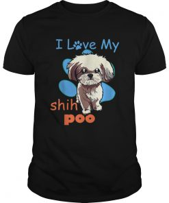 I Love My Shih Poo Best Dog Lover Paw Print Christmas  Unisex