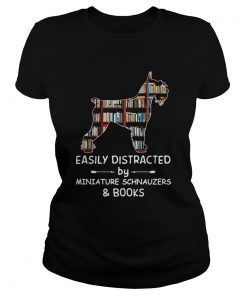 Distracted By Miniature Schnauzers And Books Crewneck  Classic Ladies