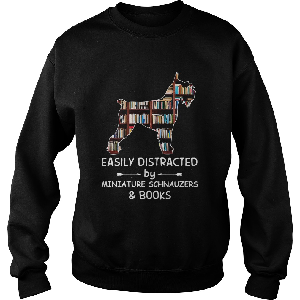 Distracted By Miniature Schnauzers And Books Crewneck Sweatshirt