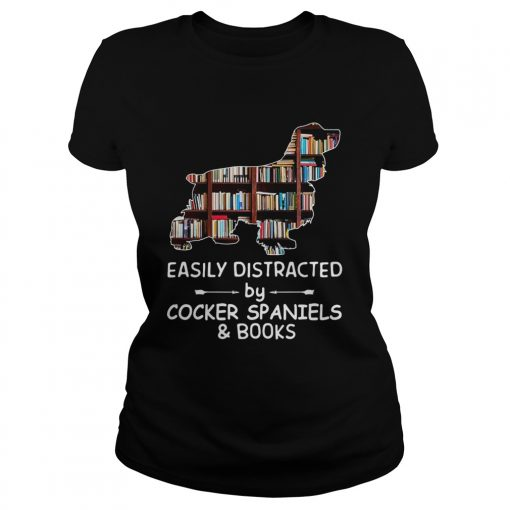 Easily Distracted By Cocker Spaniels And Books Crewneck  Classic Ladies