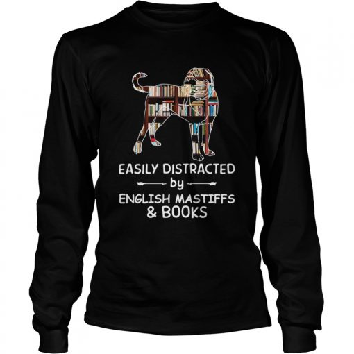 Easily Distracted By English Mastiffs And Books Crewneck  LongSleeve
