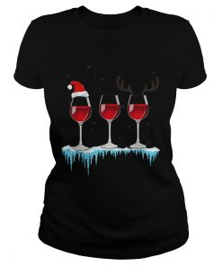 Three Glasses of Red Wine Santa Hat Christmas  Classic Ladies