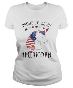 Unicorn proud to be an americorn american flag independence day  Classic Ladies