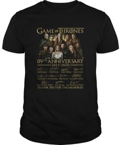 Game Of Thrones 09th Anniversary 20112020 Thank You For The Memories  Unisex