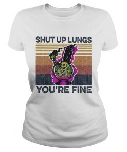 Skull smoking shut up lungs youre fine vintage retro  Classic Ladies