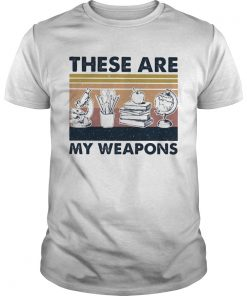 These Are My Weapons Microscope Earth Model Pen Box Apple Book Vintage Retro  Unisex