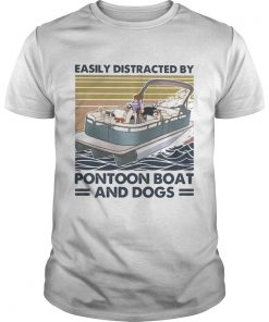 Easily distracted by pontoon boat and dogs vintage retro  Unisex