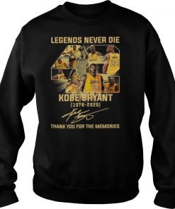 Legends Never Die 42 Kobe Bryant 1978 2020 Thank You For The Memories Signature shirt