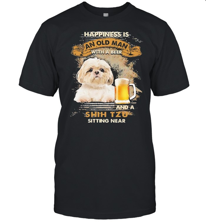 Happiness Is An Old Man With A Beer And An Shih Tzu Sitting Near Shirt Classic Men's T-shirt