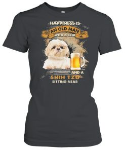 Happiness Is An Old Man With A Beer And An Shih Tzu Sitting Near Shirt Classic Women's T-shirt