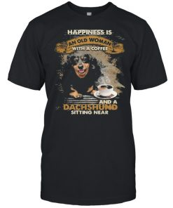 Happiness is an old woman with a and a coffee Dachshund sitting in  Classic Men's T-shirt